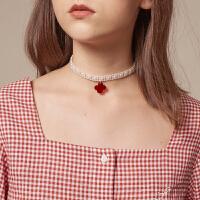 LLANO2020新款珍珠项圈亚克力花瓣配饰少女复古chic项链