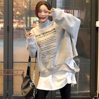 韩版假两件字母印花卫衣初春2019新款拼接长袖宽松上衣外套女装潮