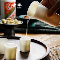 唐丰羊脂玉酒具一壶二杯陶瓷分酒器家用浮雕中式白酒杯摆件
