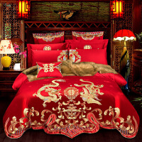 婚庆四件套大红色结婚床上用品新婚纯棉被子喜被龙凤全棉六八件套定制