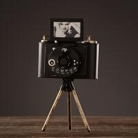 美式乡村复古三脚架相机模型摆件老式照相机装饰摆件家居客厅玄关橱窗摆设摄影道具