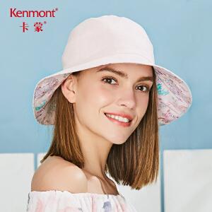 卡蒙棉麻女式可折叠太阳帽骑车防晒帽夏天户外遮阳双面可戴大檐帽 3641