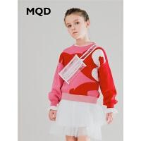 MQD童装女童圆领针织衫2019秋装新款儿童套头纯棉长袖粉红色毛衣