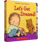 Let's Get Dressed 我会穿衣 英文原版绘本 0 3岁 婴幼儿启蒙纸板翻翻书 Caroline Jayn