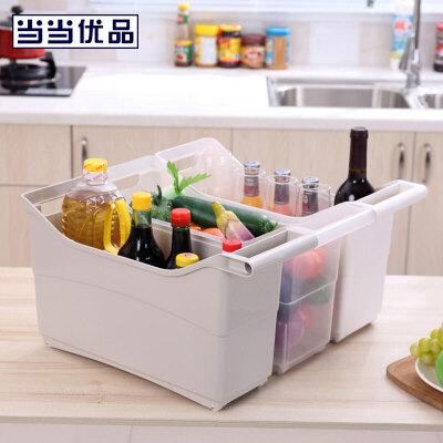 当当优品 2个装滑轮式夹缝餐厨收纳盒当当自营 滑轮式 小空间大收纳 多用途收纳盒