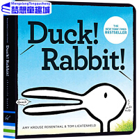 【78�x3】�敲籼m英文原版�L本 3 6�q ��子�是兔子 Duck! Rabbit ��子兔子 �和�英�Z入�T�板�� 思�S拓展