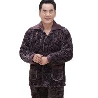 三层加厚珊瑚绒夹棉睡衣男士冬季加绒棉袄中年爸爸中老年老人套装