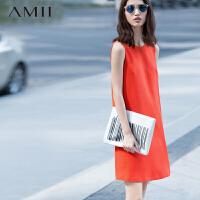 AMII[极简主义]夏新品简洁通勤肌理感大码纯色背心连衣裙11580283