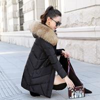 仟仞岗品牌高端中年妈妈鸭毛羽绒服中长款韩版女士奢华大毛领冬装