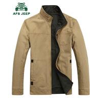 战地吉普双面春秋纯棉男士夹克 两面穿男士立领水洗工装多袋外套