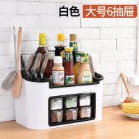 刀架厨房置物架调味料收纳架调料架子调味盒调料罐瓶收纳架筷子盒 大号6抽屉 白色