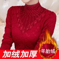 加绒加厚蕾丝衫秋冬新款上衣韩版立领小衫长袖女打底衫8060