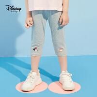 【2件2.3折价:27.3元】迪士尼童装女童2021新款女童七分打底裤夏季儿童打底裤