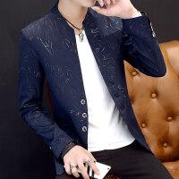 男士印花小西装男韩版修身立领中山装休闲西服加绒外套潮青年帅气