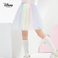 【2件2.4折价:59.7元】迪士尼童装女童多彩网纱半身裙儿童宝宝2021春装洋气短裙子