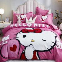 618提前购+四件套全棉纯棉床上用品网红款床单被套被子1.8m床双人四件套