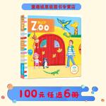 #Busy Zoo 系列 英文原版绘本0 3岁 繁忙的动物园 纸板机关操作活动书 幼儿启蒙学习 亲子教育互动学习