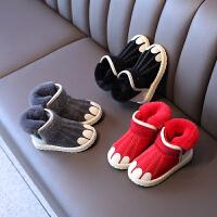 冬季儿童雪地靴女童防水中大短靴男童加绒棉鞋