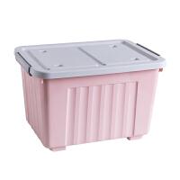 收纳箱塑料特大号儿童衣服储蓄储物箱玩具整理箱有盖零食盒车载