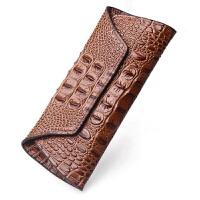 夏季新款女士钱包女 长款大容量鳄鱼纹牛皮钱夹女小手包