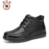 骆驼牌男鞋 秋冬 头层皮男靴皮靴毛绒短靴系带靴子