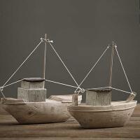 装饰品摆件创意客厅酒柜摆设家居饰品树脂工艺品复古北欧树脂仿木质小船摆件模型