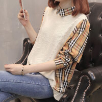 欧洲站时尚马甲针织衫假两件套衬衫领长袖宽松套头女毛衣学生外套