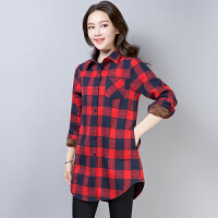 加绒格子衬衫女2018秋冬新款宽松韩版中长款外套长袖加厚保暖衬衣 红色 加绒加厚