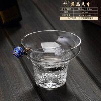 【优选】创意玻璃茶漏滤茶器套装家用功夫茶具配件茶叶过滤网锤纹茶隔漏斗