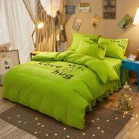 纯色卡通床上用品1.5m1.8米四件套加厚1.2学生单人三件套床单被套