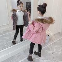 女童棉衣新款韩版儿童装冬装加绒加厚中长款棉袄洋气外套 粉色 110