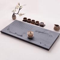 雕刻石头茶盘茶海天然浮雕排水黑乌金石茶盘小大号功夫茶具