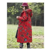 冬装新品民族风女装印花连帽棉大衣中长款外套大码女装花棉袄