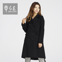 红莲2015冬装新款女装西装领羊绒大衣女中长款双排扣修身毛呢大衣
