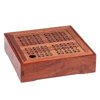 干果盘实木坚果盒客厅复古零食果盒分格带盖中式礼品