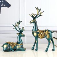 对鹿摆件北欧式家居家装饰品客厅新婚结婚礼物酒柜创意电视柜地中海田园工艺品摆设