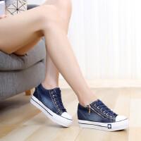 女鞋韩版帆布鞋跑步鞋运动鞋厚底拉链系带牛仔布鞋学生松糕鞋内增高休闲鞋