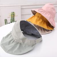 夏天宝宝太阳帽女童渔夫帽儿童帽子夏季空顶帽薄款遮阳帽凉帽