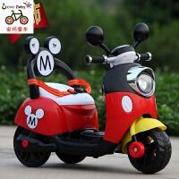 米奇儿童电动车摩托车三轮车电动童车宝宝可坐玩具车小木兰电瓶车