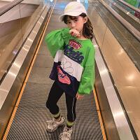 新款洋气中大童韩版时髦卫衣两件套女童春装运动套装