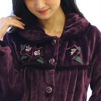 秋冬季法兰绒睡衣女大码加厚开衫长袖珊瑚绒家居服套装睡衣女冬天
