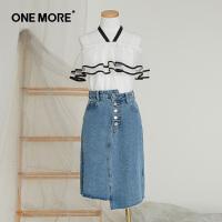 【520告白季】ONEMORE夏装新款一字肩上衣女复古温柔风雪纺衫短袖上衣