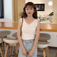 春装新款女装韩版时尚蕾丝花边V领无袖针织衫学生打底外穿小背心