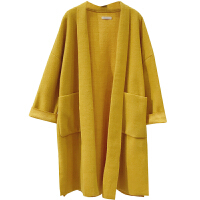 港风毛呢外套女秋冬新品韩版宽松显瘦长袖纯色慵懒风开衫呢子大衣 均码