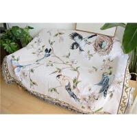 鸟语花香提沙发毯田园欧美复古客厅沙发垫咖啡桌布地毯简约沙发巾定制 鸟语花香