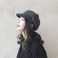 贝雷帽女秋冬英伦画家帽子男韩国鸭舌帽女日系格子八角帽