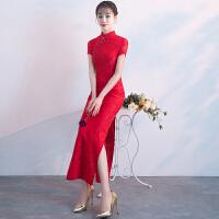 红色敬酒服新娘2018新款冬季修身鱼尾中式结婚旗袍晚礼服女中长款 红色