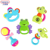 婴儿手摇铃玩具 新生儿摇铃婴幼儿牙胶摇铃套装0-1岁 礼盒装摇铃5件套