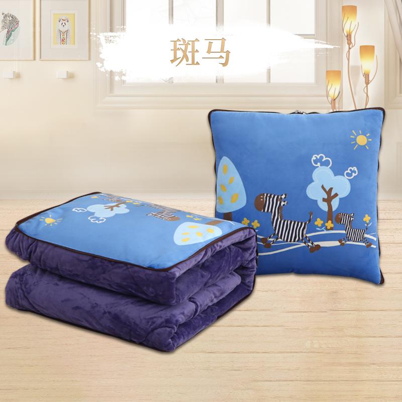 抱枕被子两用加厚珊瑚绒毯子办公室午睡枕头被汽车靠垫靠枕空调被  加厚珊瑚绒【抱枕:50X50cm 被子:150X2