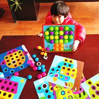 儿童大颗粒蘑菇钉男孩女童早教益智力玩具1一2-3周岁幼儿宝宝拼图